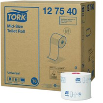 Tork Mid-Size Toilet Roll Universal 1-Ply 27 Rolls