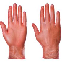 Red Vinyl Powdered Disposable Gloves